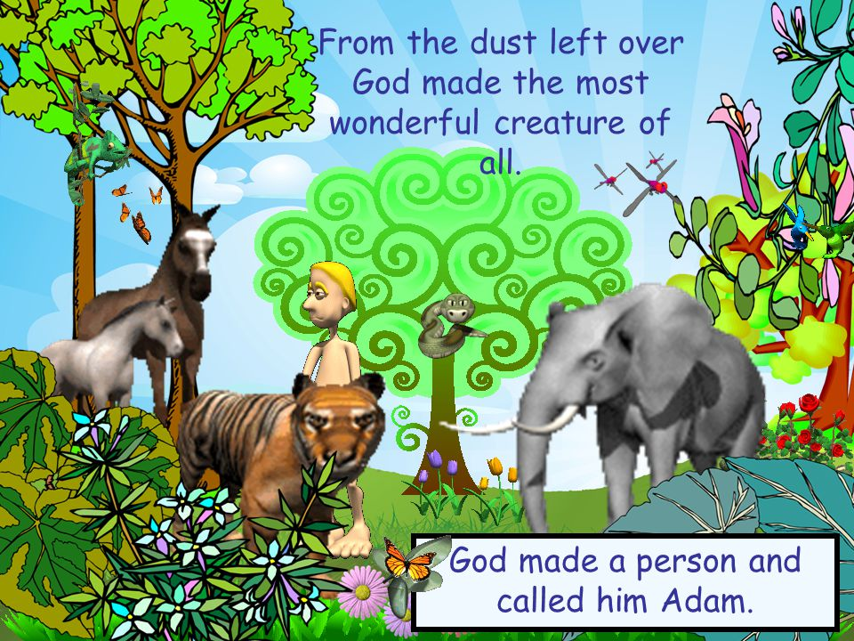 From the dust left over God made the most wonderful creature of all. God made a person and called him Adam.