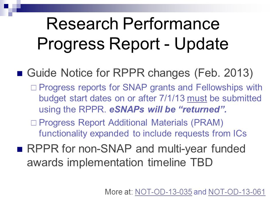 Research Performance Progress Report - Update Guide Notice for RPPR changes (Feb.