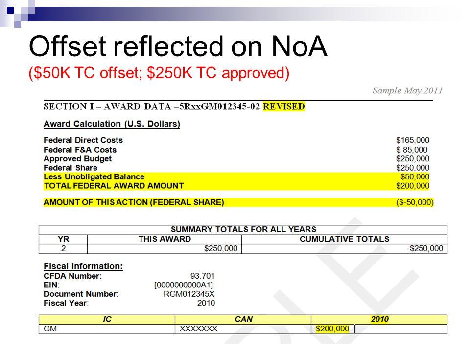 Offset reflected on NoA ($50K TC offset; $250K TC approved)