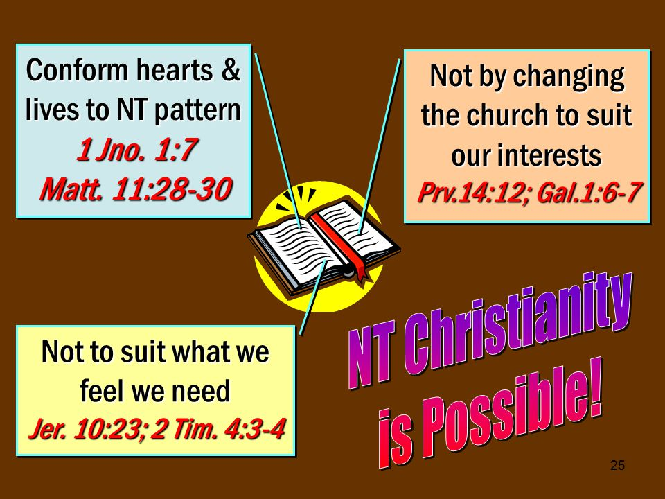 25 Conform hearts & lives to NT pattern 1 Jno. 1:7 Matt.