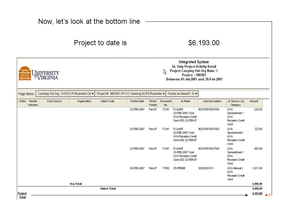 Now, let's look at the bottom line Project to date is $6,193.00