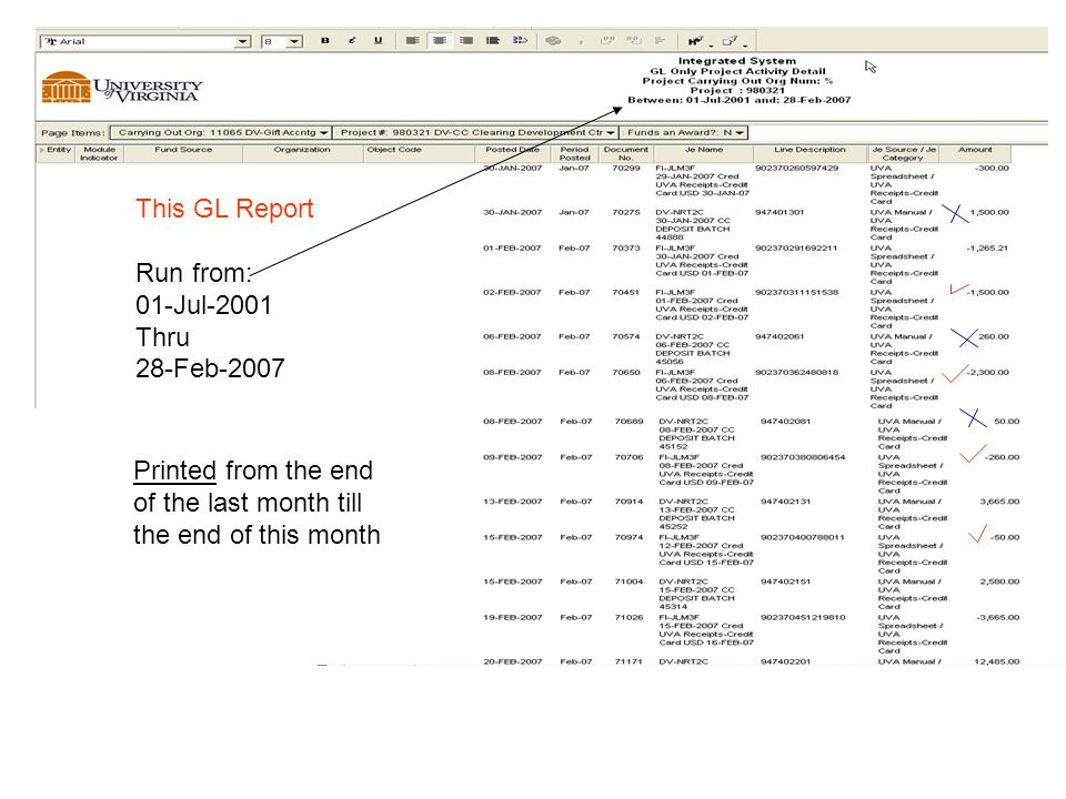 This GL Report Run from: 01-Jul-2001 Thru 28-Feb-2007 Printed from the end of the last month till the end of this month