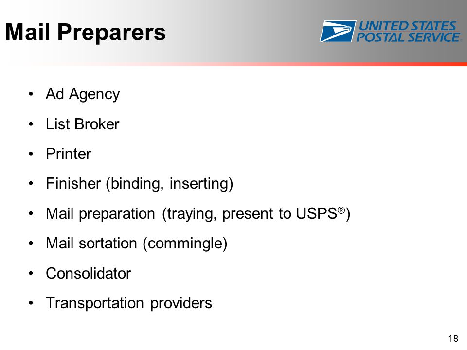 Mail Preparers Ad Agency List Broker Printer Finisher (binding, inserting) Mail preparation (traying, present to USPS ® ) Mail sortation (commingle) C