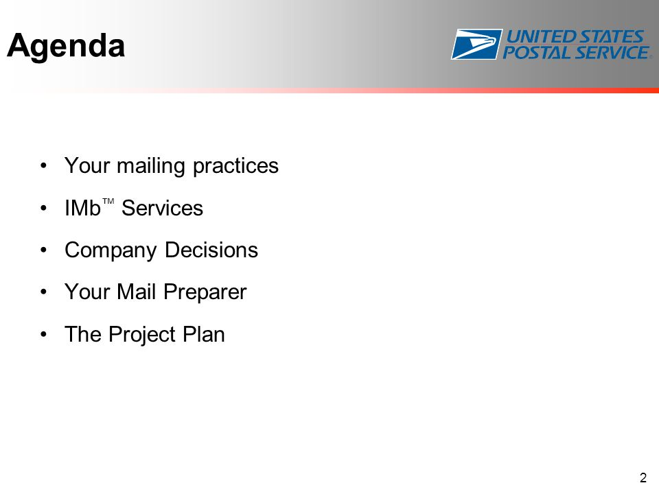 Agenda Your mailing practices IMb ™ Services Company Decisions Your Mail Preparer The Project Plan 2