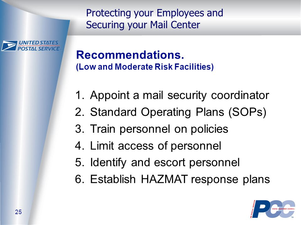25 Protecting your Employees and Securing your Mail Center Recommendations.