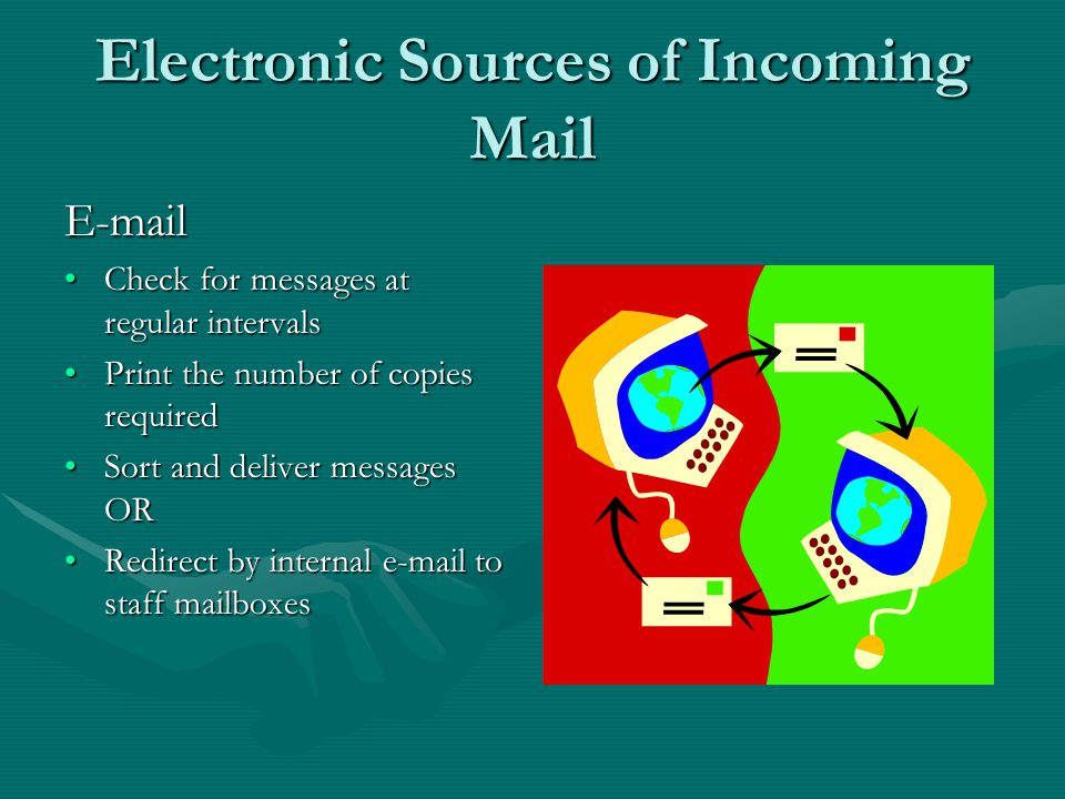Electronic Sources of Incoming Mail Voic Check at regular intervalsCheck at regular intervals Note message on to message formNote message on to message form Sort messages into departmentsSort messages into departments Deliver messages the same as for incoming mailDeliver messages the same as for incoming mail