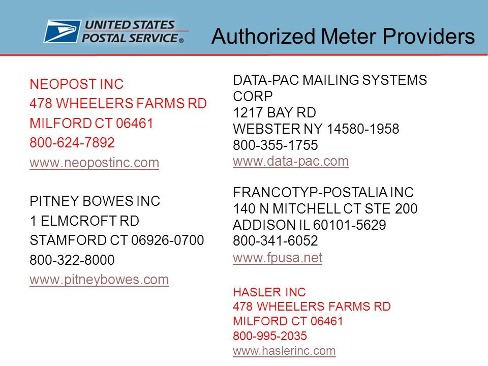 Methods of Postage Payment Permit Imprint Most popular and convenient way to pay postage Postage information printed in upper right corner of mailpiece Postage block = indicia