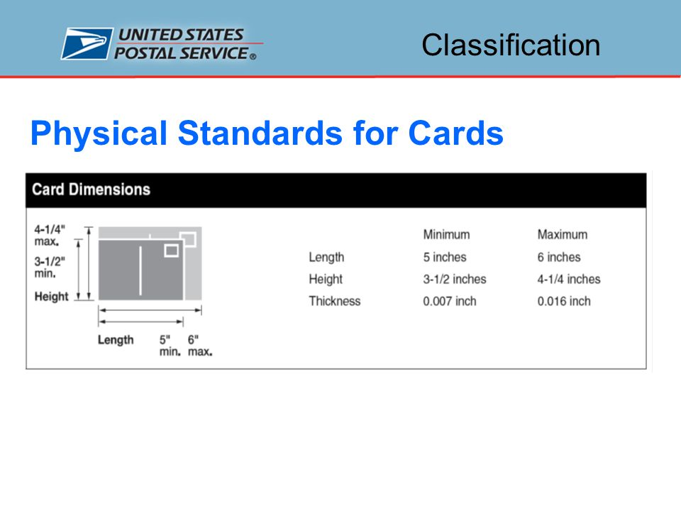 Classification Physical Standards for Cards