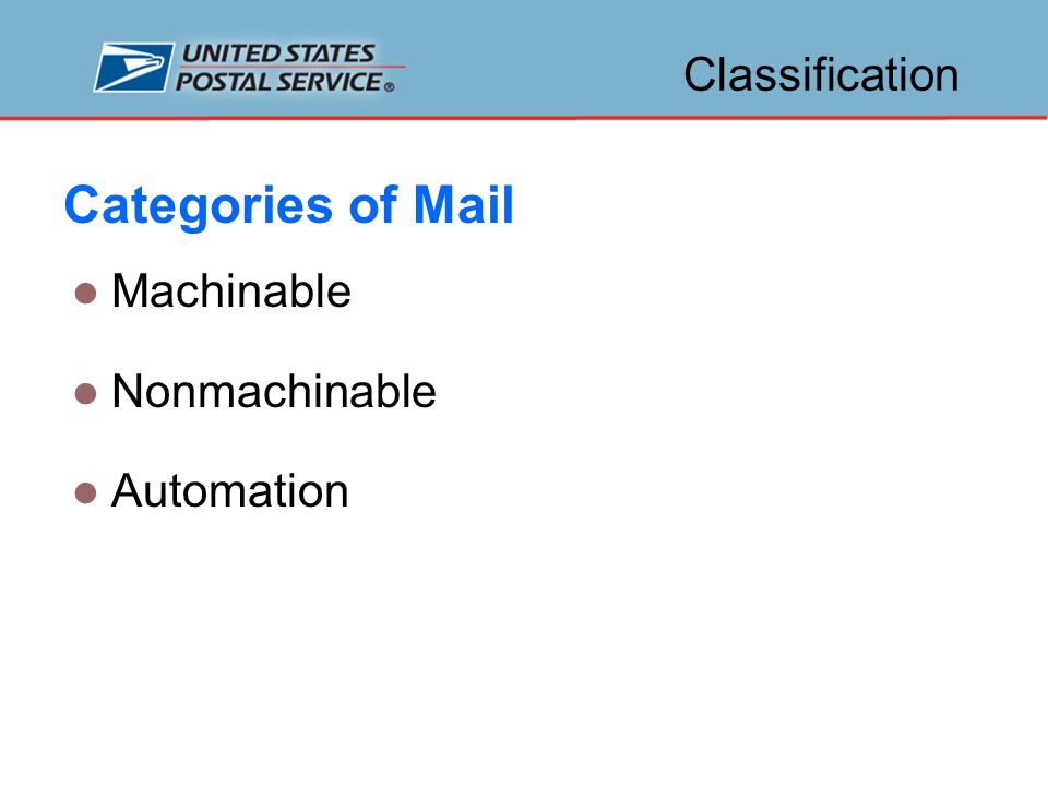 Mailpiece Characteristics Barcodes Series of long and short bars that represent numbers Represent ZIP Code™, ZIP+4 ®, and delivery addresses 2 types of barcodes – POSTNET™ and Intelligent Mail ® Barcode