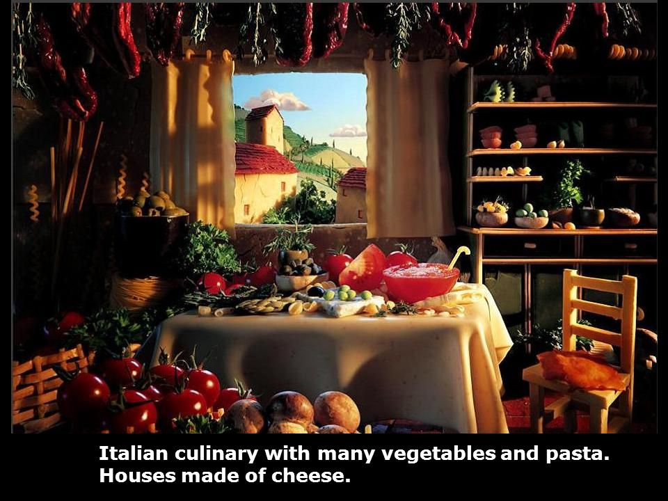 Italian culinary with many vegetables and pasta. Houses made of cheese.