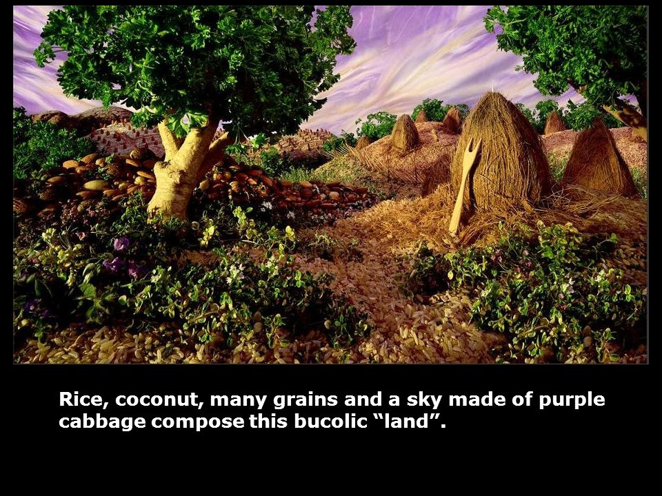 Rice, coconut, many grains and a sky made of purple cabbage compose this bucolic land .