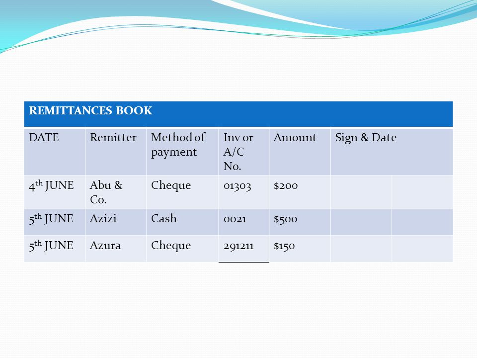 REMITTANCES BOOK DATERemitterMethod of payment Inv or A/C No.