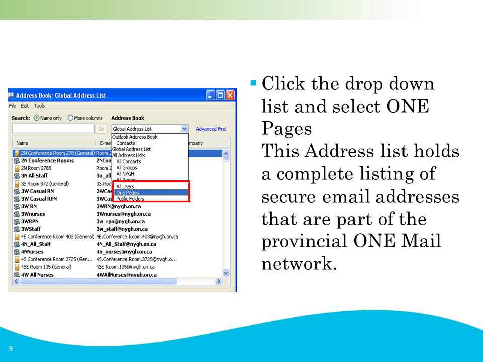 9  Click the drop down list and select ONE Pages This Address list holds a complete listing of secure email addresses that are part of the provincial ONE Mail network.