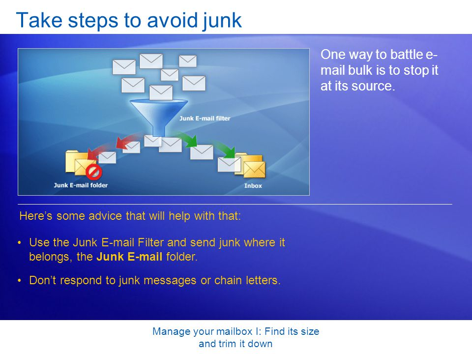 Manage your mailbox I: Find its size and trim it down Take steps to avoid junk One way to battle e- mail bulk is to stop it at its source.