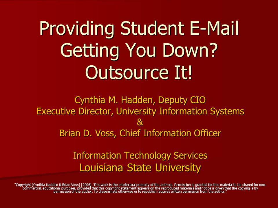 Providing Student E-Mail Getting You Down.Outsource It.