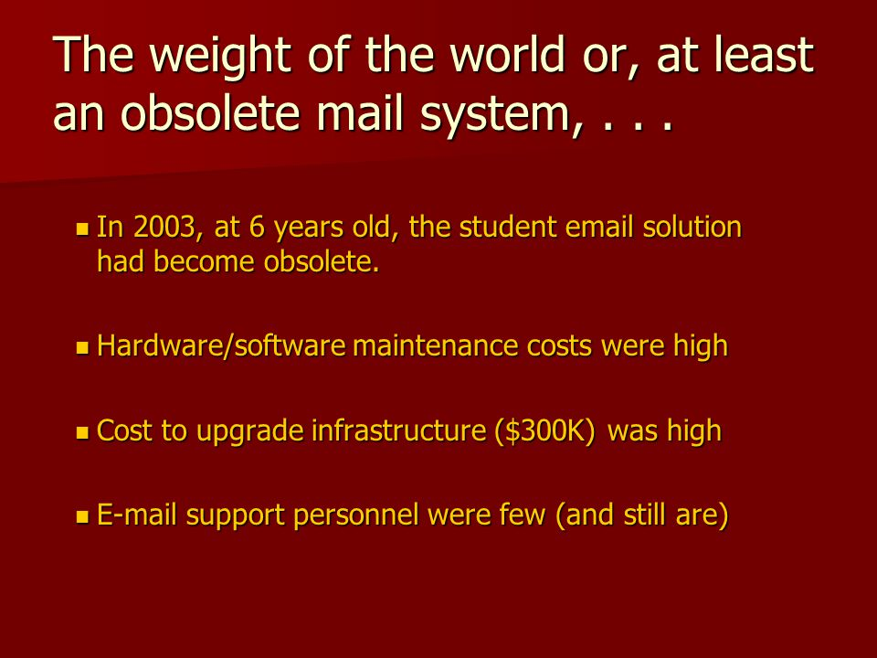 The weight of the world or, at least an obsolete mail system,...
