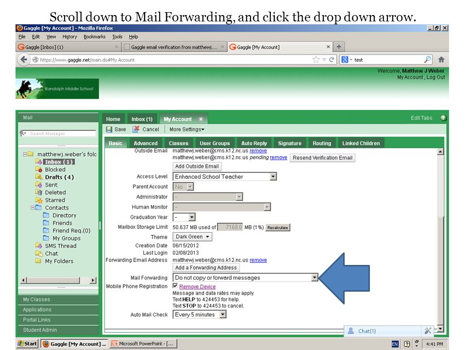 Scroll down to Mail Forwarding, and click the drop down arrow.