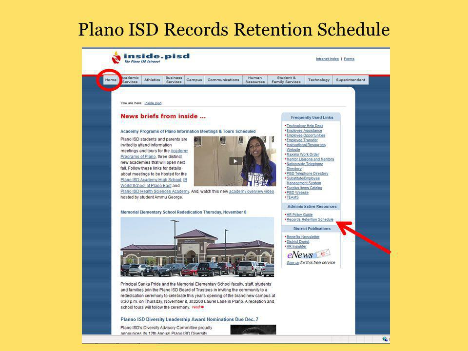 Plano ISD Records Retention Schedule