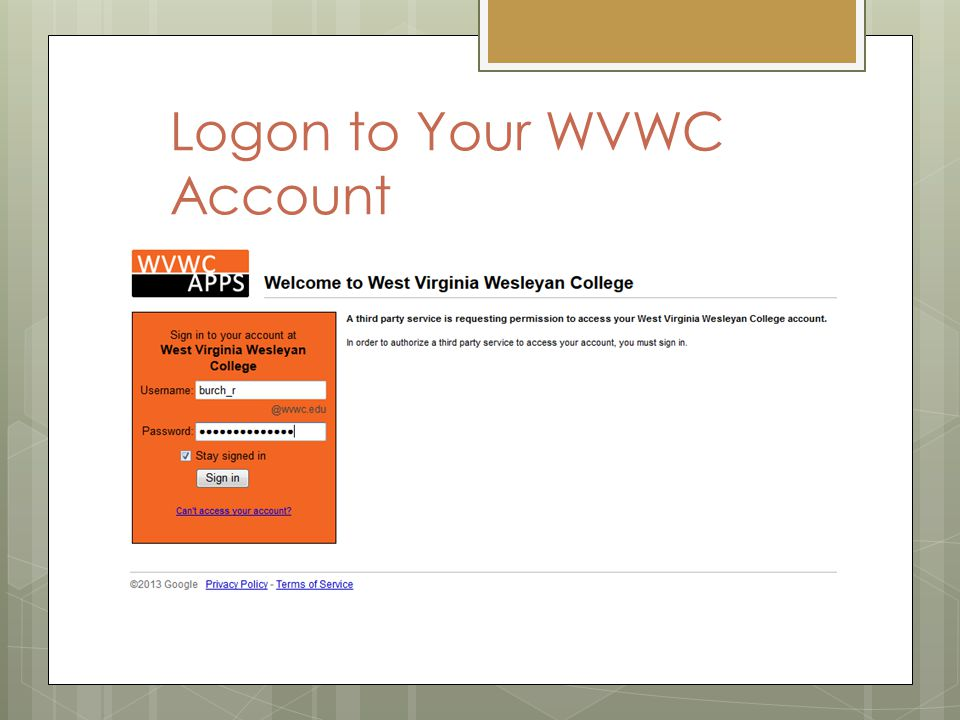 Logon to Your WVWC Account