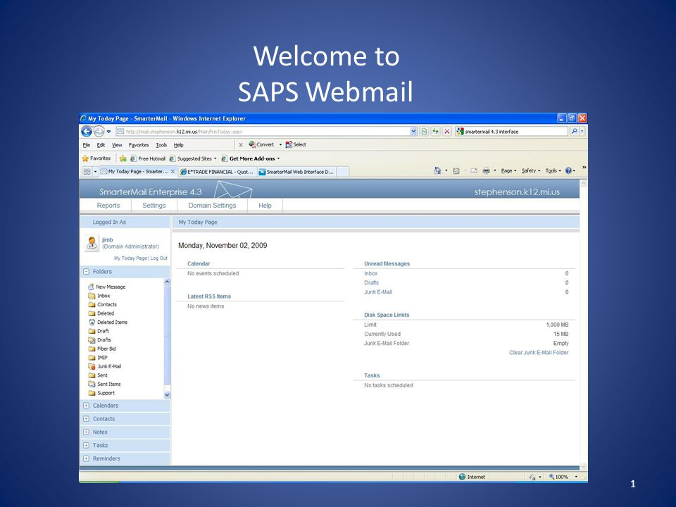 1 Welcome to SAPS Webmail