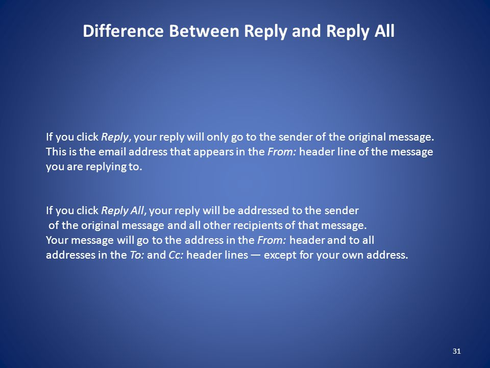 31 If you click Reply, your reply will only go to the sender of the original message.