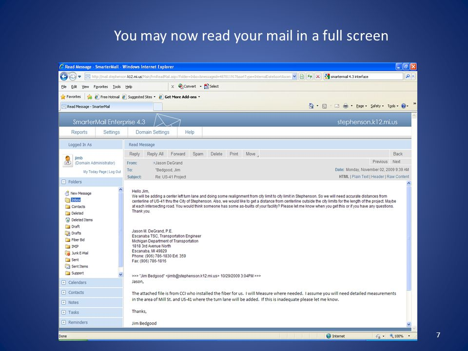 7 You may now read your mail in a full screen