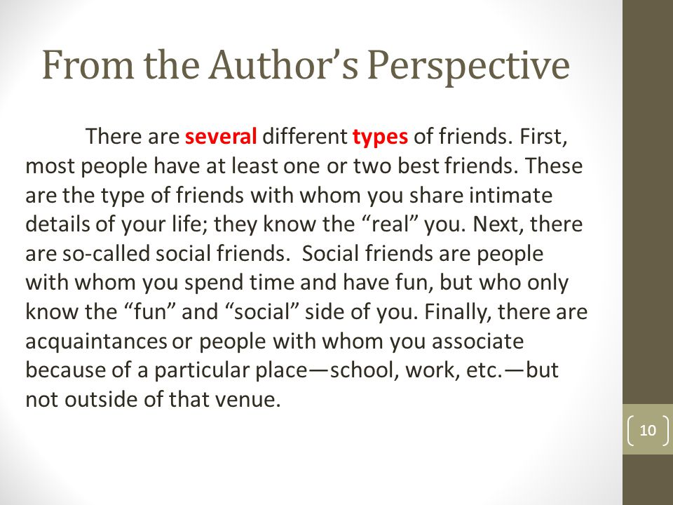 From the Author's Perspective 10 There are several different types of friends. First, most people have at least one or two best friends. These are the