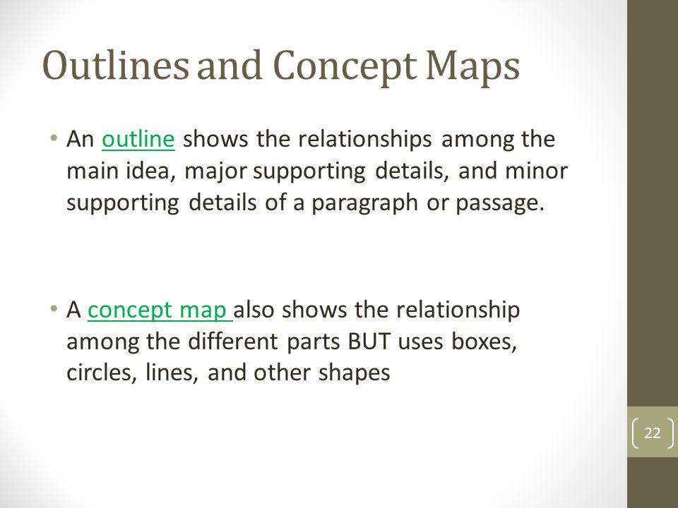 Outlines and Concept Maps An outline shows the relationships among the main idea, major supporting details, and minor supporting details of a paragrap