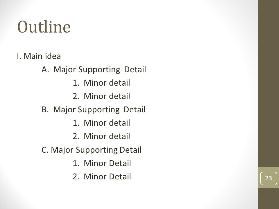 Outline I. Main idea A. Major Supporting Detail 1. Minor detail 2. Minor detail B. Major Supporting Detail 1. Minor detail 2. Minor detail C. Major Su