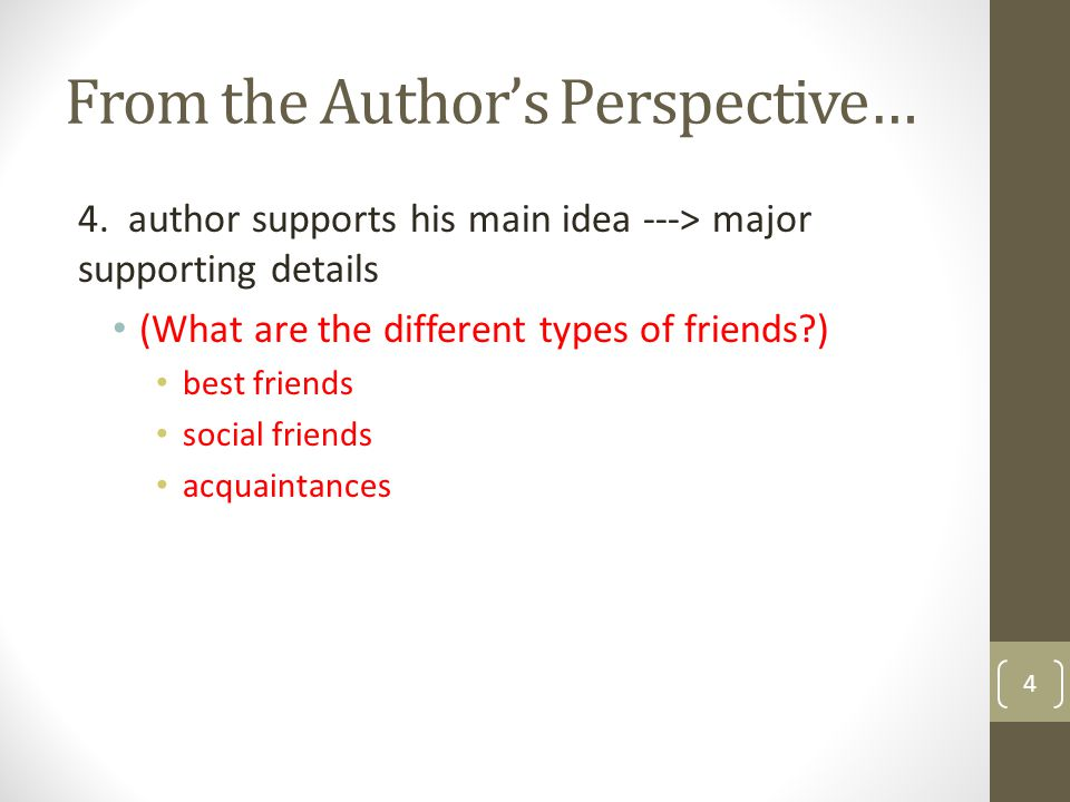 From the Author's Perspective… 4. author supports his main idea ---> major supporting details (What are the different types of friends?) best friends