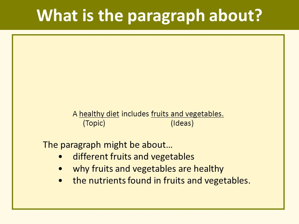 What is the paragraph about? A healthy diet includes fruits and vegetables. (Topic) (Ideas) The paragraph might be about… different fruits and vegetab
