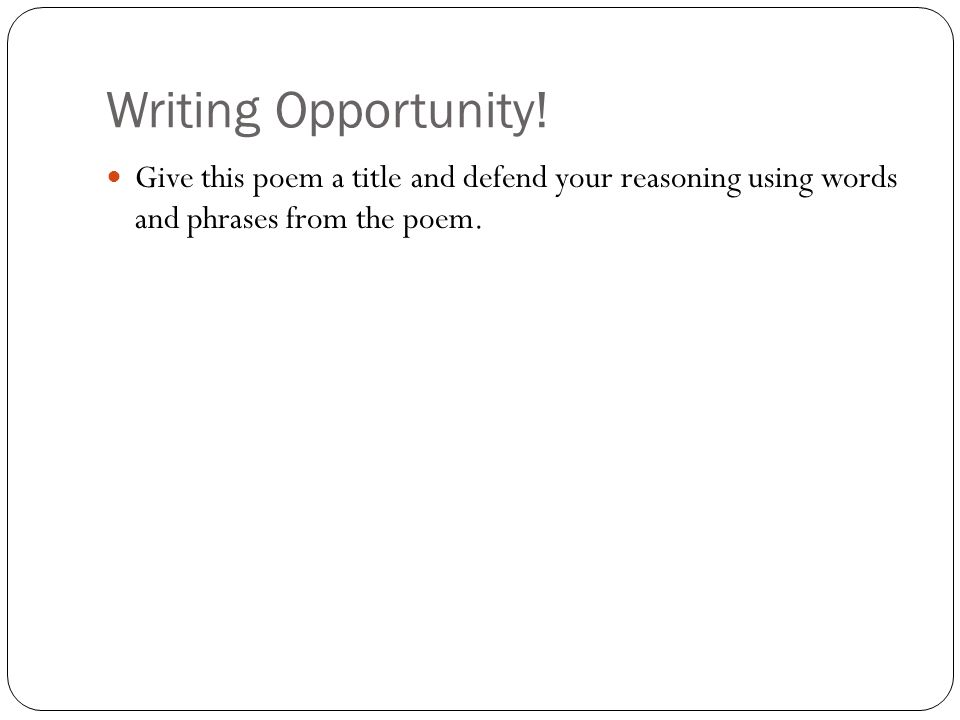 Writing Opportunity.