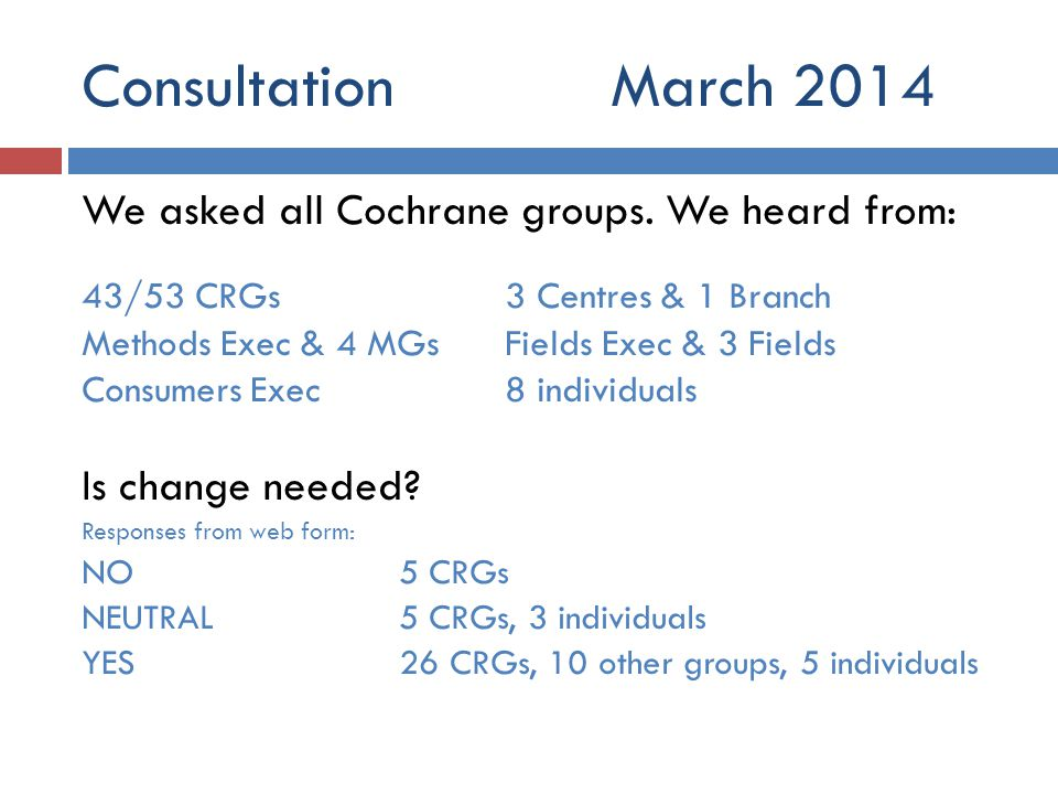 ConsultationMarch 2014 We asked all Cochrane groups. We heard from: 43/53 CRGs3 Centres & 1 Branch Methods Exec & 4 MGsFields Exec & 3 Fields Consumer