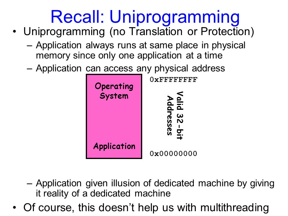 Multiprogramming (First Version) Multiprogramming without Translation or Protection –Must somehow prevent address overlap between threads –Trick: Use Loader/Linker: Adjust addresses while program loaded into memory (loads, stores, jumps) Everything adjusted to memory location of program Translation done by a linker-loader Was pretty common in early days With this solution, no protection –bugs in any program can cause other programs to crash or even the OS 0x00000000 0xFFFFFFFF Application1 Operating System Application2 0x00020000