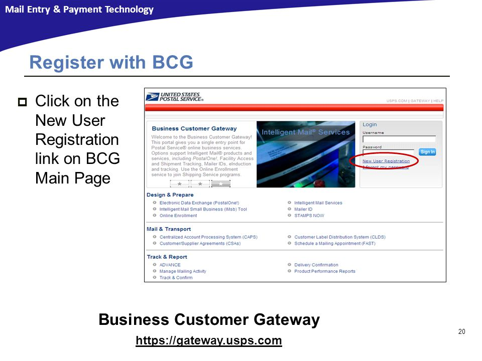 Mail Entry & Payment Technology Register with BCG Business Customer Gateway https://gateway.usps.com 20  Click on the New User Registration link on BCG Main Page