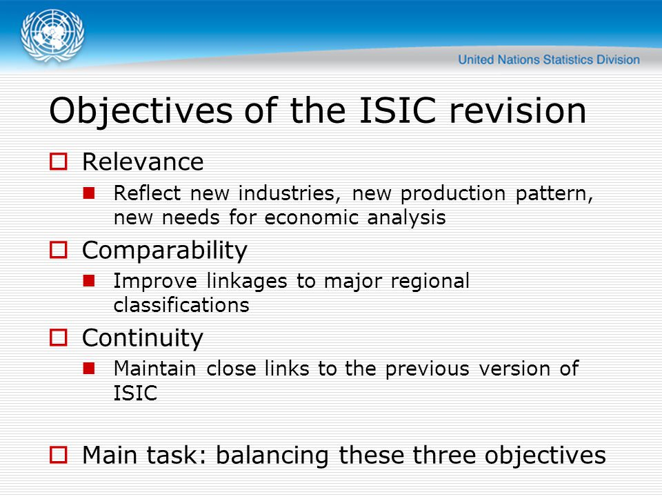 ISIC structure changes  Increase in top-level categories  Increase in overall detail  New concepts (information, professional services, support services)  New application rules (vertical integration, top-down method, outsourcing)  This presentation provides an overview.