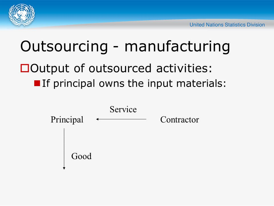 Outsourcing - manufacturing  Output of outsourced activities: If principal owns the input materials: PrincipalContractor Service Good