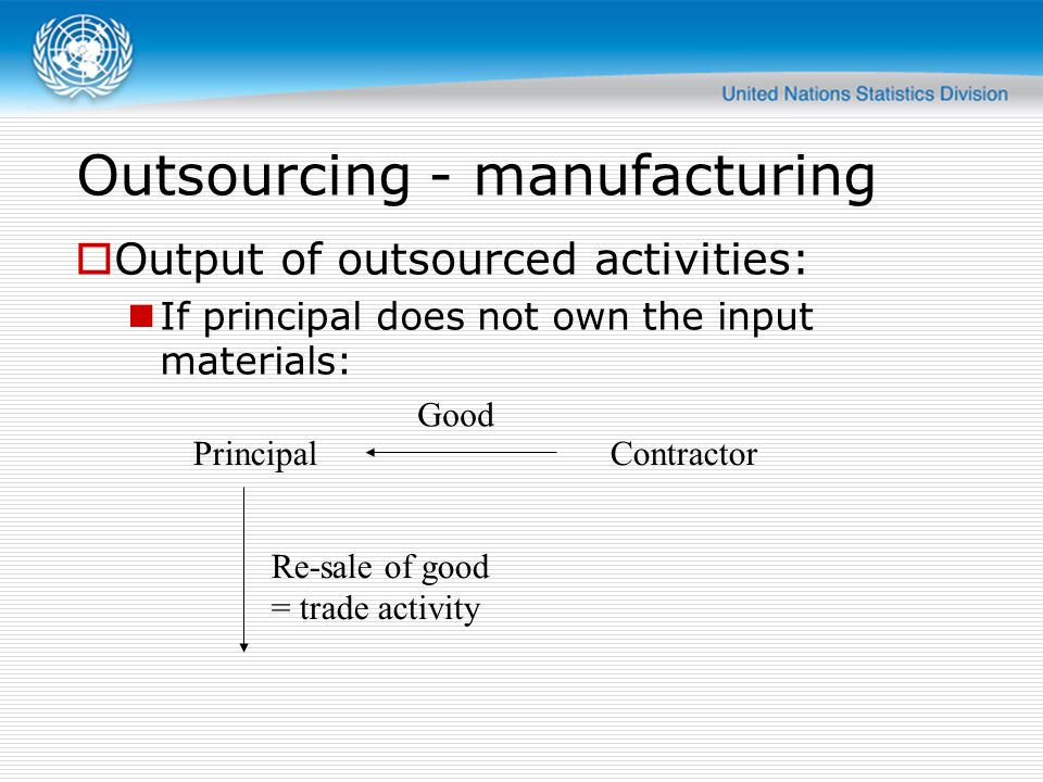 Outsourcing - manufacturing  Output of outsourced activities: If principal does not own the input materials: PrincipalContractor Good Re-sale of good = trade activity