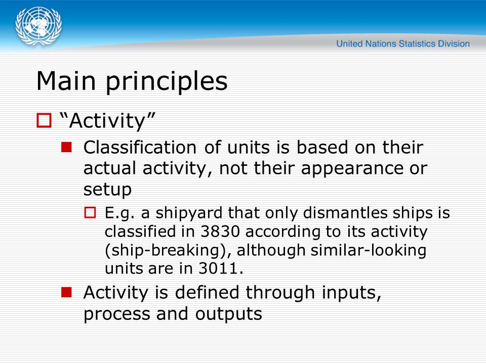 Main principles  Activity Classification of units is based on their actual activity, not their appearance or setup  E.g.