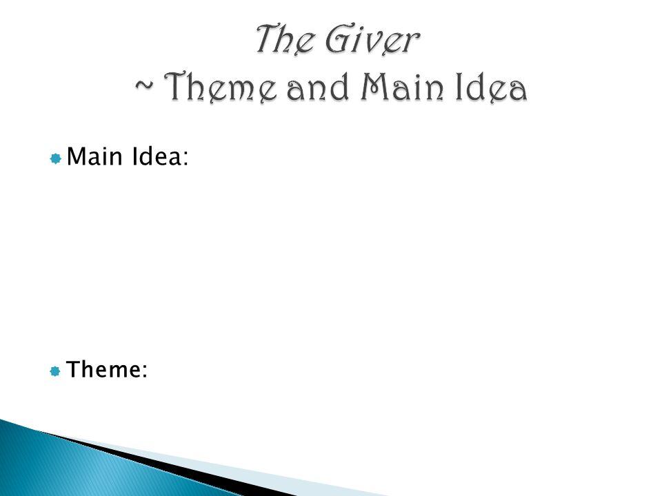 Main Idea:  Theme: