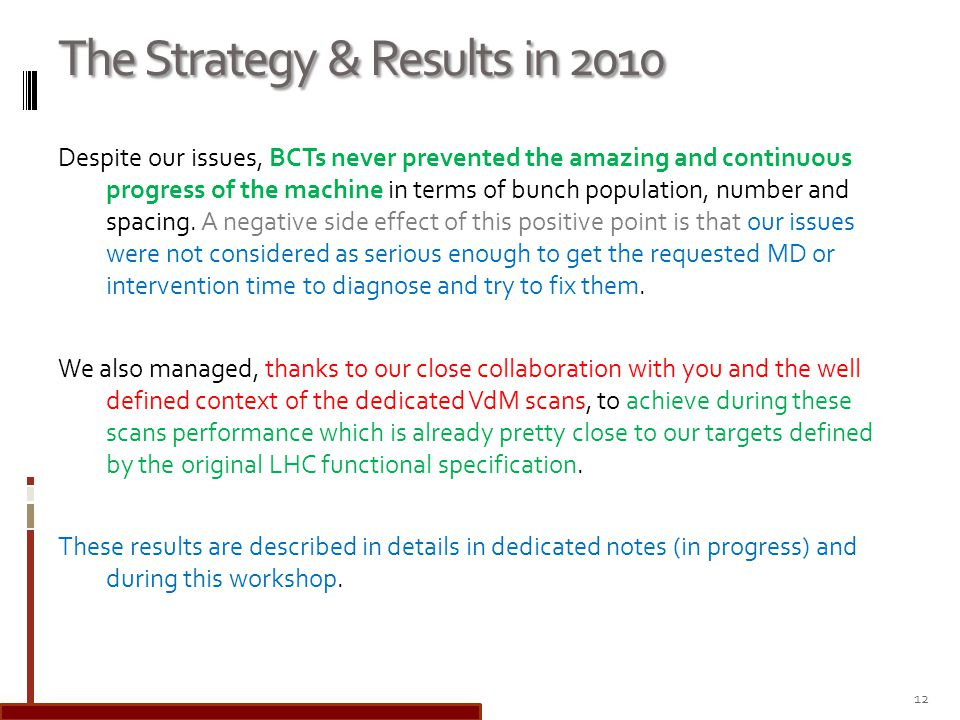 The Strategy & Results in 2010 Despite our issues, BCTs never prevented the amazing and continuous progress of the machine in terms of bunch population, number and spacing.