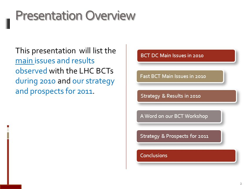 Presentation Overview This presentation will list the main issues and results observed with the LHC BCTs during 2010 and our strategy and prospects for 2011.
