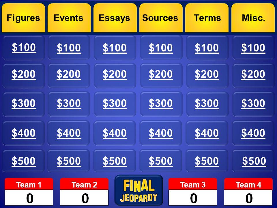 Figures $100 $200 $300 $400 $500 EventsEssaysSourcesTermsMisc. Team 1Team 2Team 3Team 4 $200