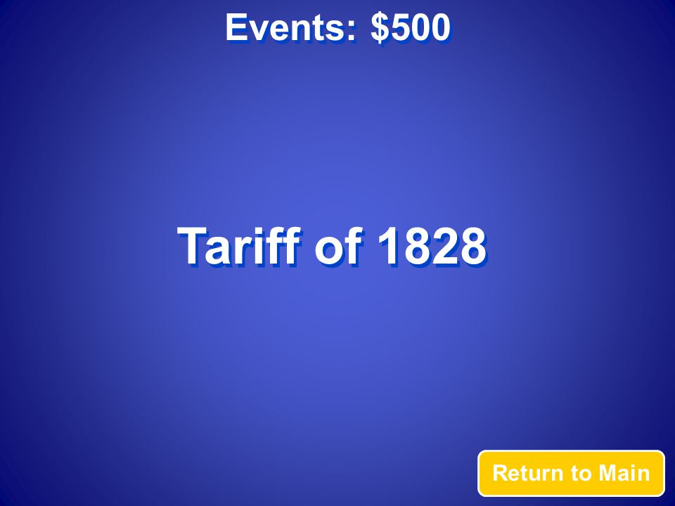Events: $500 Answer Was the tariff that led South Carolina to threaten secession from the Union.