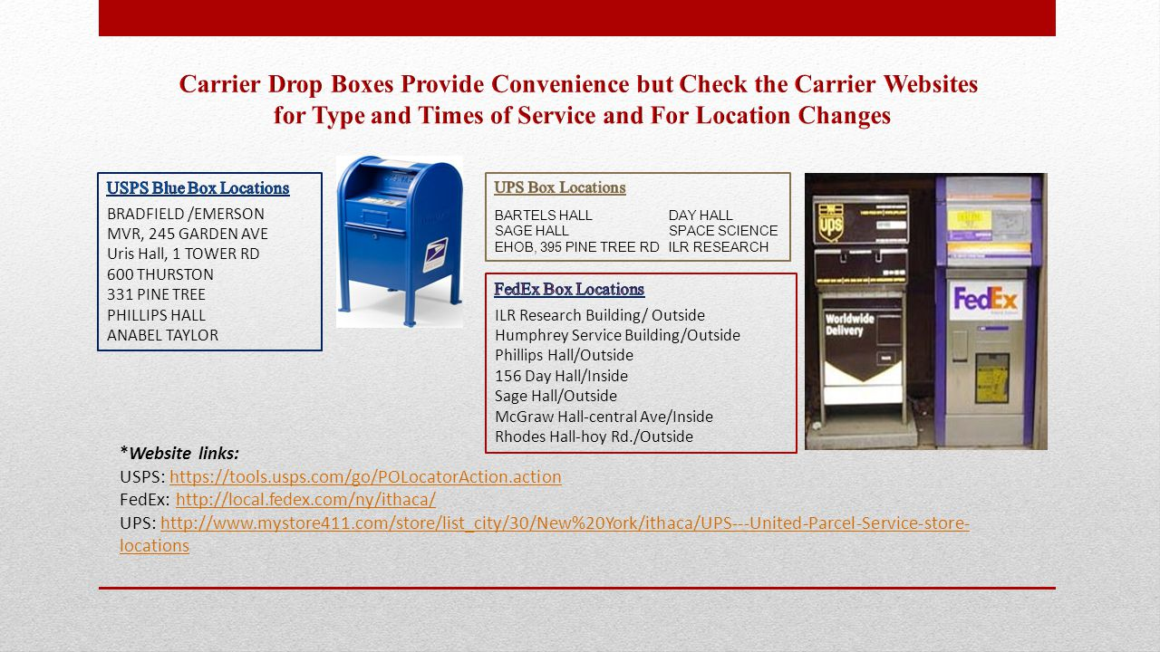 *Website links: USPS: https://tools.usps.com/go/POLocatorAction.actionhttps://tools.usps.com/go/POLocatorAction.action FedEx: http://local.fedex.com/ny/ithaca/http://local.fedex.com/ny/ithaca/ UPS: http://www.mystore411.com/store/list_city/30/New%20York/ithaca/UPS---United-Parcel-Service-store- locationshttp://www.mystore411.com/store/list_city/30/New%20York/ithaca/UPS---United-Parcel-Service-store- locations