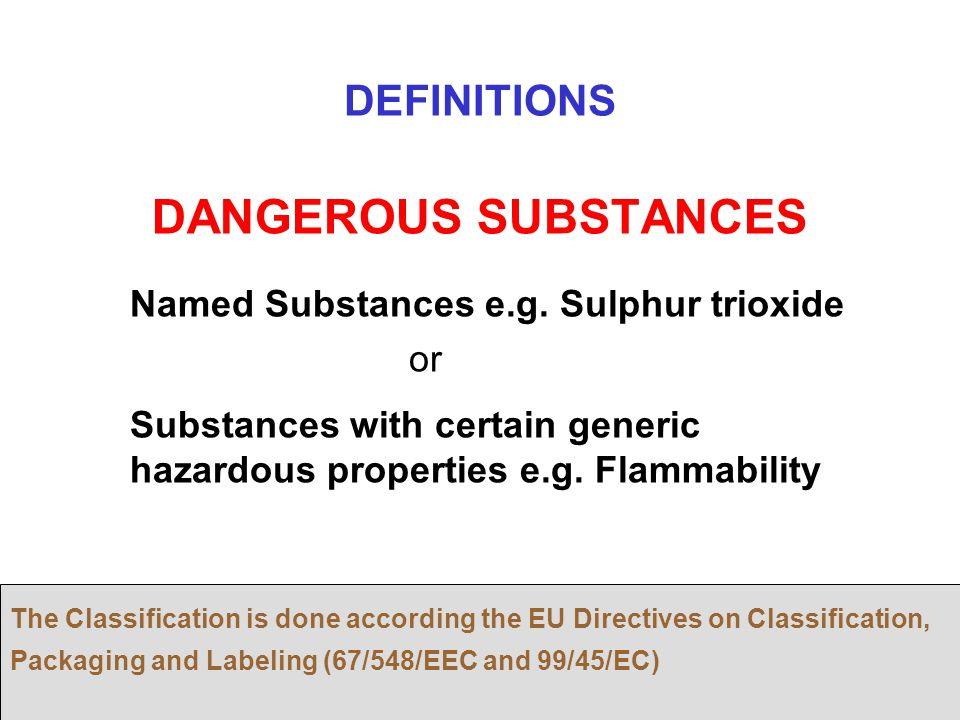 19 DANGEROUS SUBSTANCES Named Substances e.g. Sulphur trioxide or Substances with certain generic hazardous properties e.g. Flammability The Classific