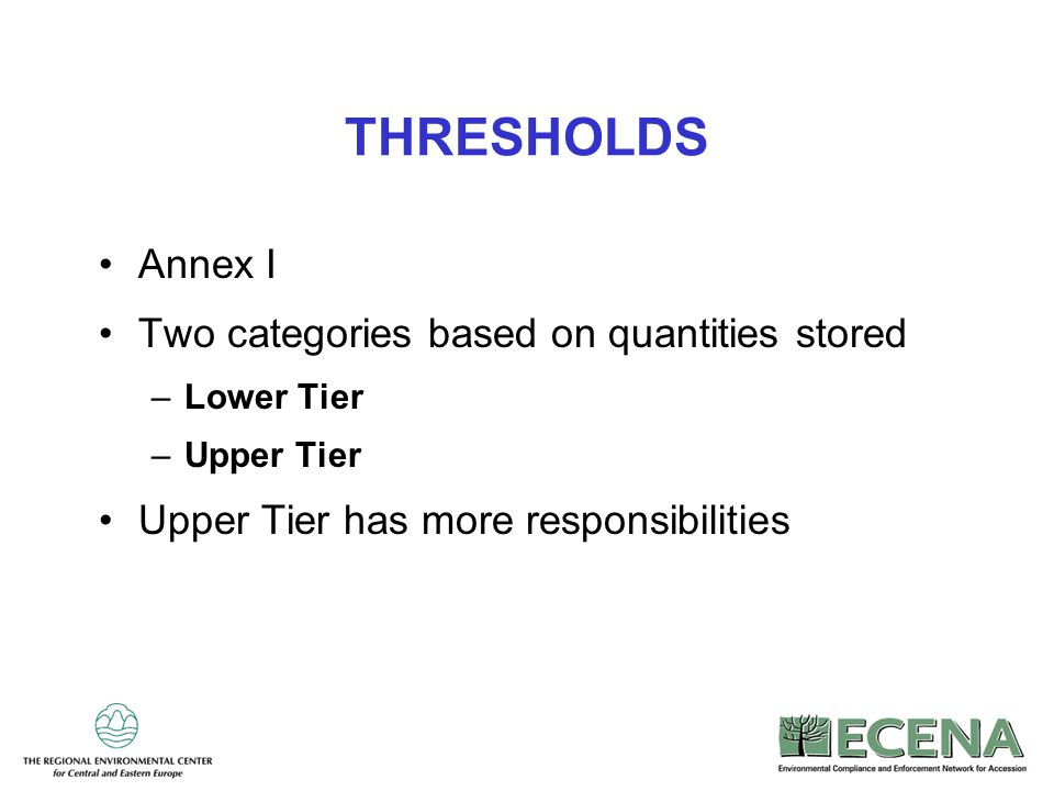 20 THRESHOLDS Annex I Two categories based on quantities stored –Lower Tier –Upper Tier Upper Tier has more responsibilities