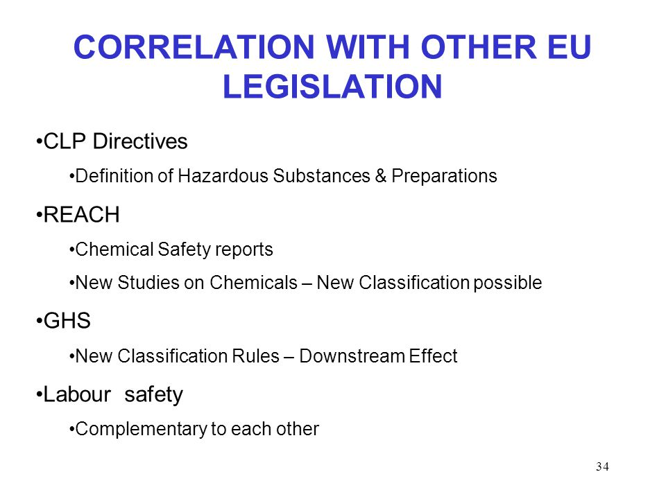 34 CORRELATION WITH OTHER EU LEGISLATION CLP Directives Definition of Hazardous Substances & Preparations REACH Chemical Safety reports New Studies on Chemicals – New Classification possible GHS New Classification Rules – Downstream Effect Labour safety Complementary to each other