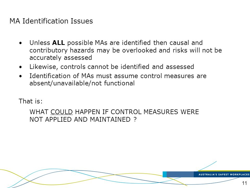 12 MAs can be identified in three different areas These are: Process MAs MAs arising from concurrent activities Non-process MAs MA Identification Issues