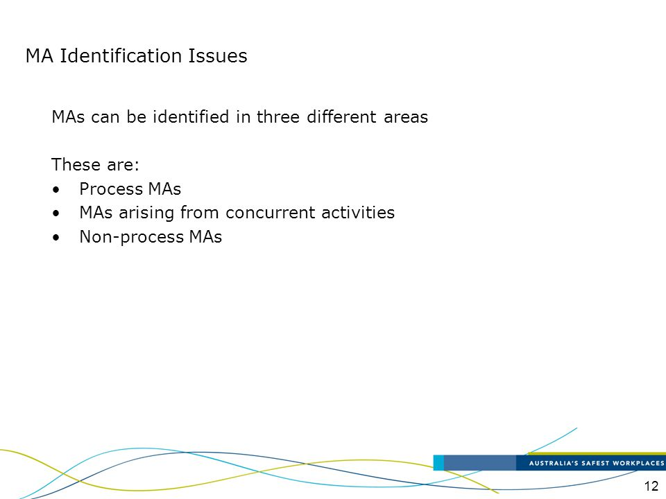 12 MAs can be identified in three different areas These are: Process MAs MAs arising from concurrent activities Non-process MAs MA Identification Issu